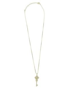 Colar de metal dourado com strass cristal Clave