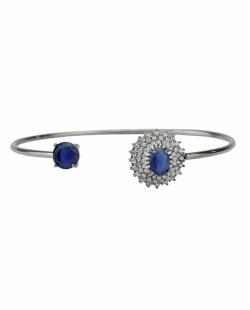 Bracelete de metal grafite com strass cristal e pedra azul Dubrov