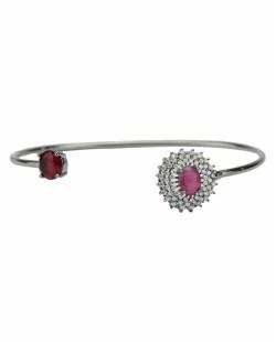 Bracelete de metal grafite com strass cristal e pedra rosa Dubrov
