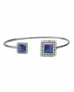 Bracelete de metal grafite com strass cristal e pedra azul Oxforde