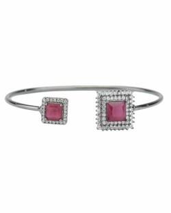 Bracelete de metal grafite com strass cristal e pedra rosa Oxforde