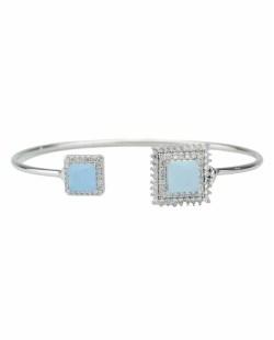 Bracelete de metal prateado com strass cristal e pedra azul claro Oxforde