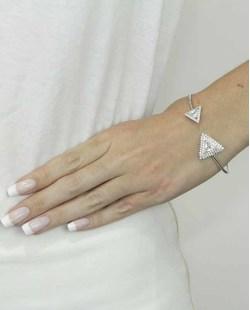 Bracelete de metal prateado com strass e pedra cristal Zadar