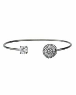 Bracelete de metal grafite com strass e pedra cristal Varadin