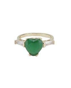 Anel de metal dourado com pedra cristal e verde escuro Karlova