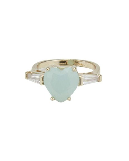 Anel de metal dourado com pedra cristal e verde claro Karlova