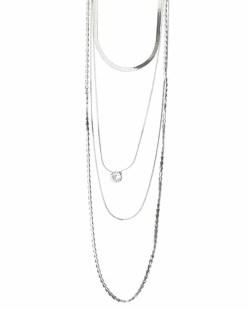 Colar de metal prateado com pedra cristal Silker