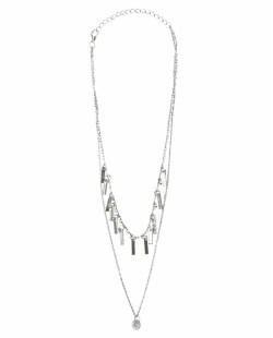 Colar de metal prateado com pedra cristal Singor