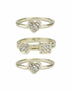 Kit de 3 anéis de metal dourado com strass cristal Berale