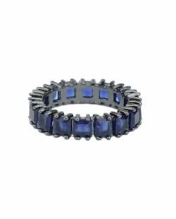 Anel de metal grafite com pedra azul escuro Plaine