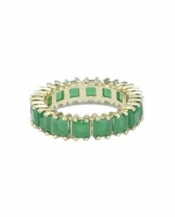 Anel de metal dourado com pedra verde escuro Plaine