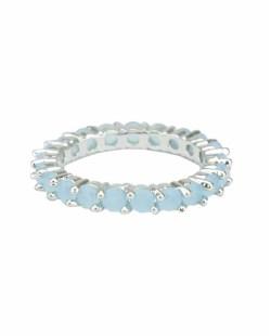 Anel de metal prateado com pedra azul claro Mahaut