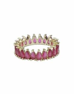 Anel de metal dourado com pedra rosa Ports
