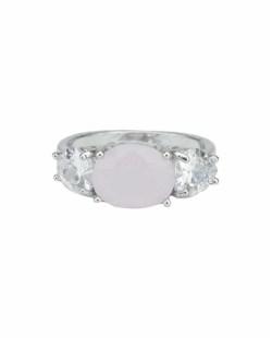 Anel de metal prateado com pedra cristal e rosa claro Trogir