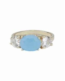 Anel de metal dourado com pedra cristal e azul Trogir