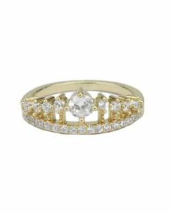 Anel de metal dourado com pedra cristal Maribor
