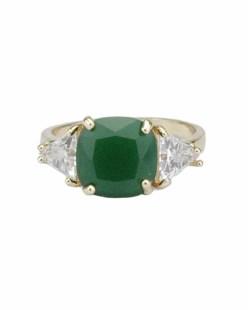 Anel de metal dourado com pedra cristal e verde Kopera