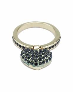Anel de metal dourado com strass azul Awassa