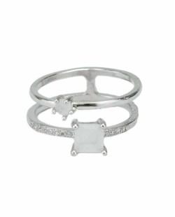 Anel de metal prateado com strass cristal e pedra branca Berhan