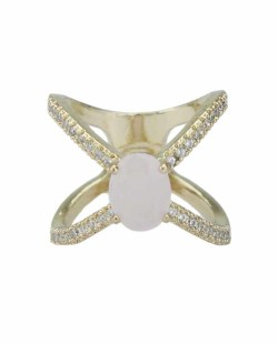 Anel de metal dourado com strass cristal e pedra rosa claro Ramala