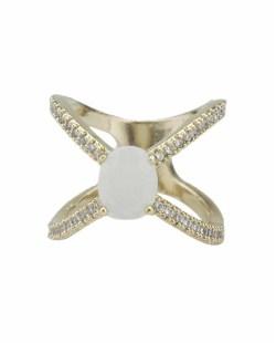 Anel de metal dourado com strass cristal e pedra bege Ramala