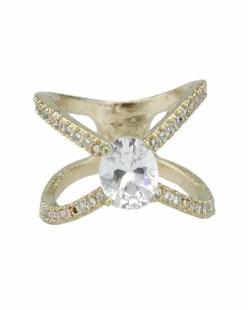 Anel de metal dourado com strass e pedra cristal Ramala