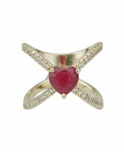 Anel de metal dourado com strass cristal e pedra vermelha Khanyu