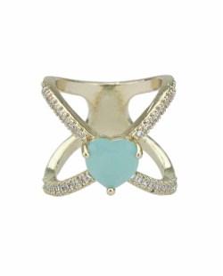 Anel de metal dourado com strass cristal e pedra verde claro Khanyu