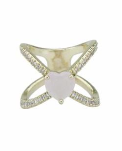 Anel de metal dourado com strass cristal e pedra rosa claro Khanyu
