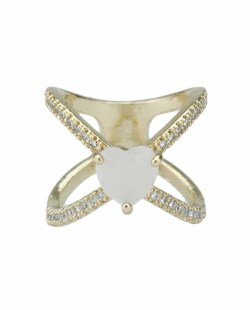 Anel de metal dourado com strass cristal e pedra bege Khanyu
