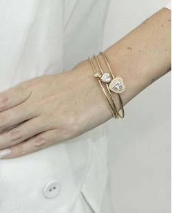Kit de três braceletes de metal dourado com pedra cristal Zafedes