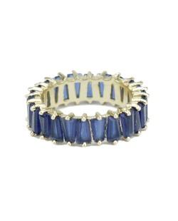 Anel de metal dourado com pedra azul escuro Jacmel