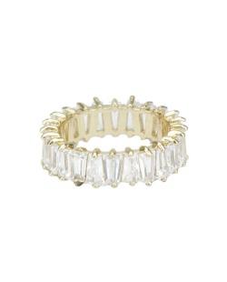 Anel de metal dourado com pedra cristal Jacmel