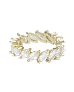 Anel de metal dourado com pedra cristal Pétionvi