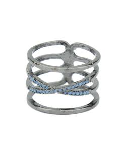 Anel de metal grafite com strass azul claro Jeremis