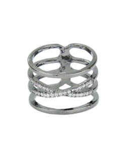 Anel de metal grafite com strass cristal Jeremis