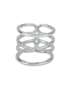 Anel de metal prateado com strass cristal Jeremis