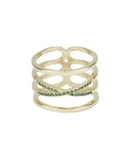 Anel de metal dourado com strass verde Jeremis