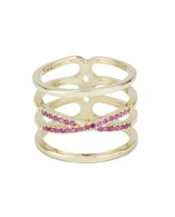 Anel de metal dourado com strass rosa Jeremis