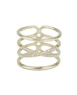 Anel de metal dourado com strass cristal Jeremis