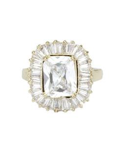 Anel de metal dourado com pedra cristal Gonalves