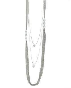 Colar de metal prateado com pedra cristal Bagdas