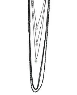 Colar de metal preto com pedra cristal Arbil