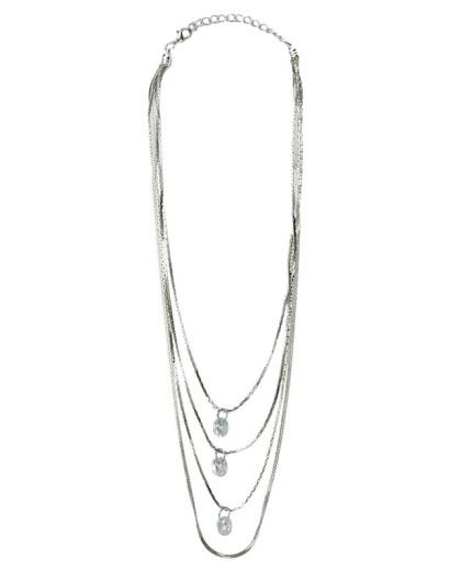 Colar de metal prateado com pedra cristal Ambares