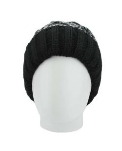 Gorro de tricô preto e azul claro Basqueba