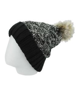 Gorro de tricô preto e branco Basqueba