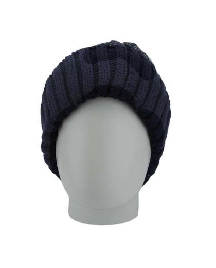 Gorro de tricô azul e azul claro Basqueba