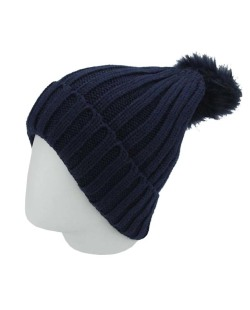 Gorro de tricô azul escuro Saladino