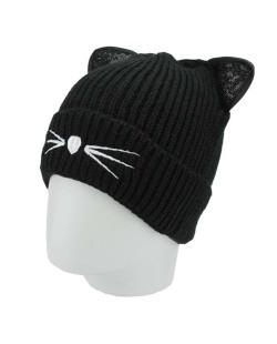 Gorro de tricô preto de gatinho