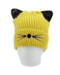 Gorro de tricô amarelo de gatinho